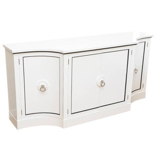 Grosfeld House Hollywood White Lacquered and Nickel Silver Cabinet or Buffet For Sale