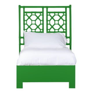 Lattice Back Bed Twin Extra Long - Bright Green For Sale