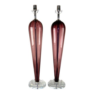 Vintage Murano Glass Teardrop Table Lamps in Amethyst For Sale