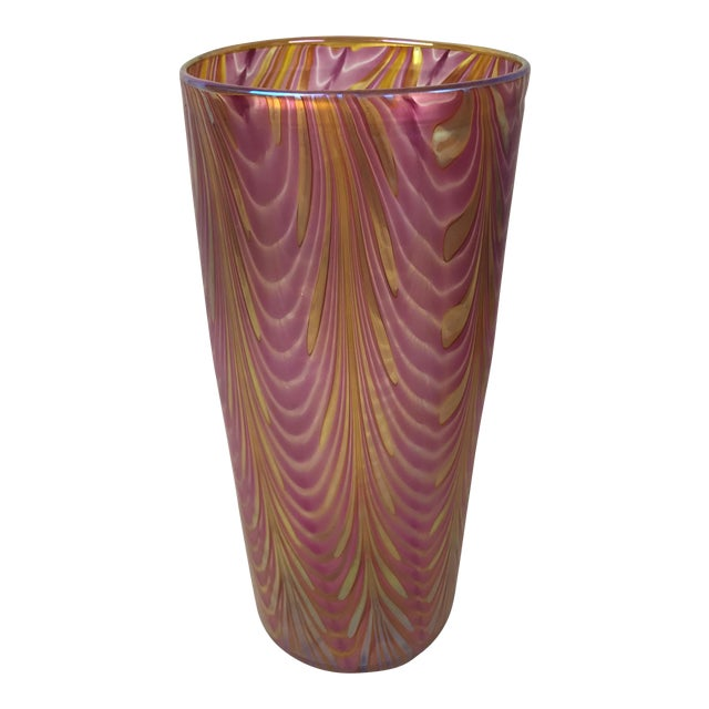 Tall Lundberg Studios Art Glass Vase Chairish