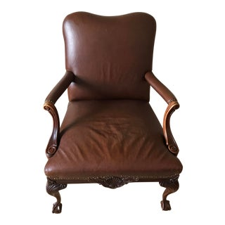 Leather Claw Foot Bergere Chair For Sale
