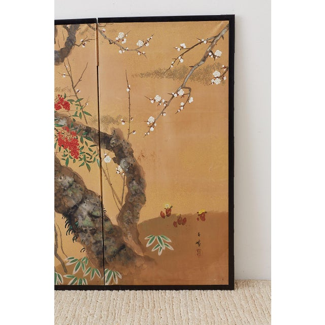 Mid 20th Century Japanese Four-Panel Screen Prunus Tree With Nandina For Sale - Image 5 of 13