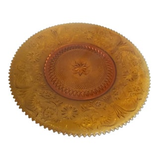 1950s Round Amber Platter For Sale