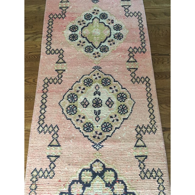 Vintage Turkish Oushak Pink Faded Tribal Boho Runner Rug 2'6'' X 9'7'' For Sale - Image 4 of 11