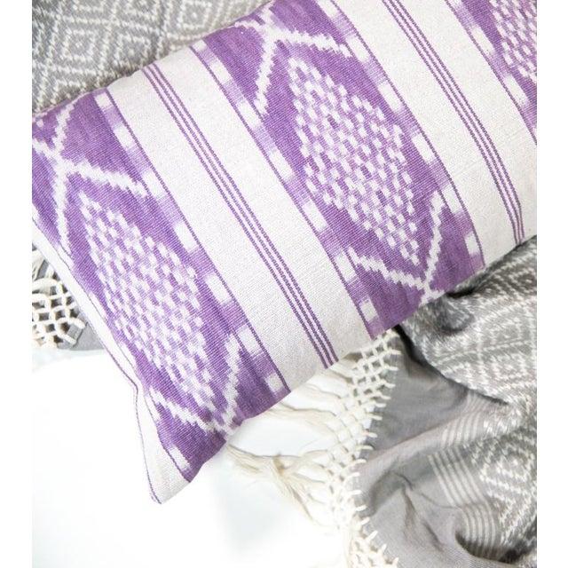 Lilac & White Ikat Guatemalan Pillow - Image 4 of 9