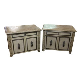 Platt Collection Wood & Faux Stone Nightstands - A Pair