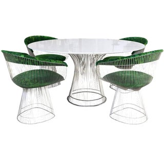 1970s Warren Platner for Knoll Marble Table With Chairs in Jack Lenor Larsen Fabric For Sale