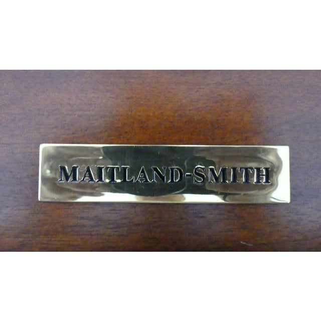 Maitland Smith Regency Style Leather Top Mahogany Writing Desk For Sale - Image 10 of 11