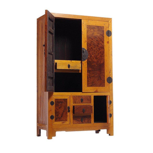 Early 20th Century 20th Century Chinese Two-Tone Burl Wood, Elmwood Armoire with Doors and Drawers For Sale - Image 5 of 6