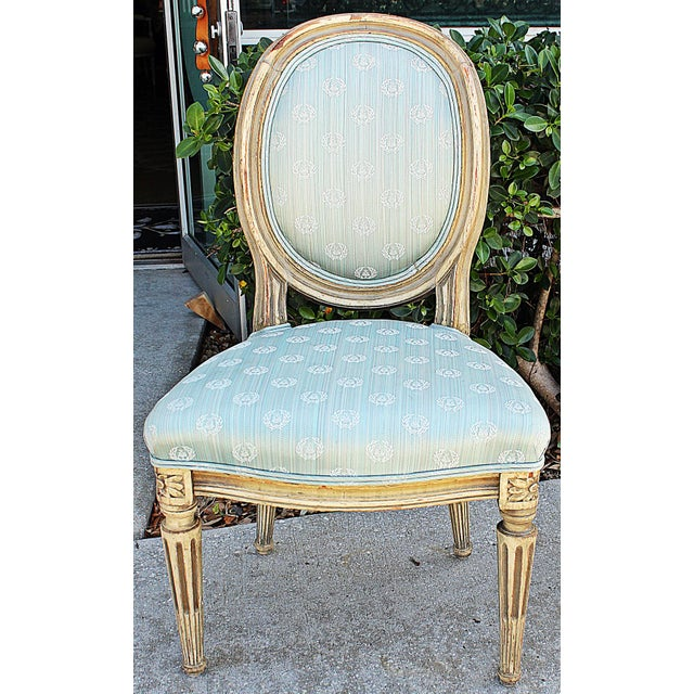 French Antique Petite Louis-XVI Type French Chairs - a Pair For Sale - Image 3 of 9
