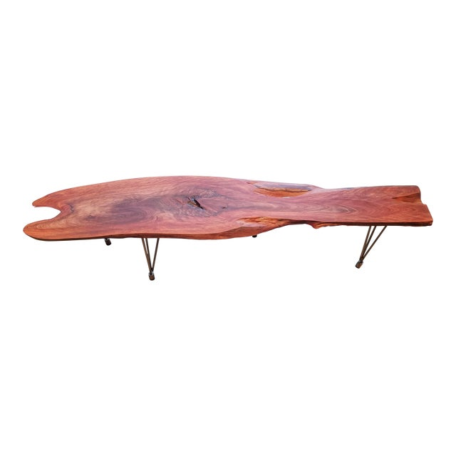 Lychee Live Edge Slab Wood Coffee Table For Sale