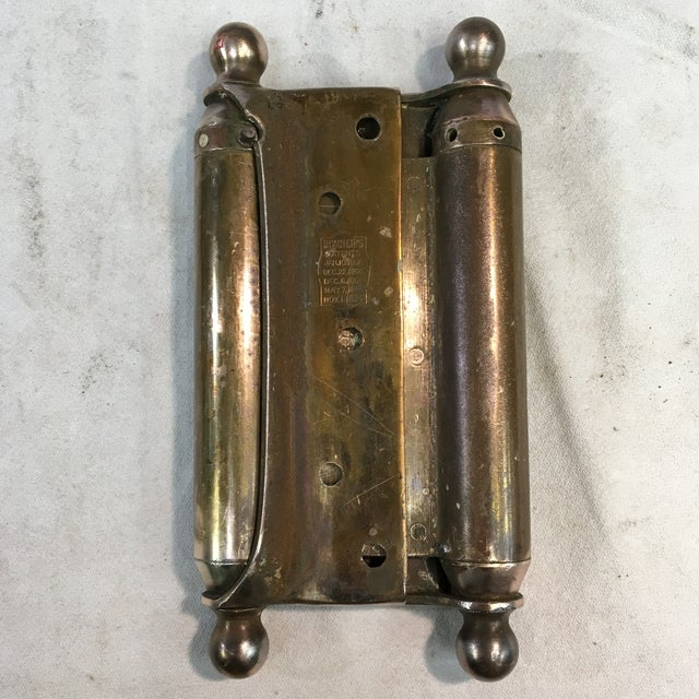 Antique 1905 Brass-Plated Swinging Door Hinges - a Pair For Sale - Image 4 of 10