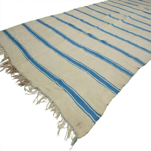 Boho Chic Nautical Striped Kilim Area Rug, Vintage Berber Moroccan Kilim Rug With Stripes, 5'4 X 11'8 For Sale - Image 3 of 5