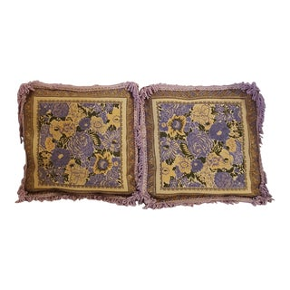 Early 20th Century Antique French Baroque Tapestry Suede Lilac Floral Pillows - A Pair For Sale