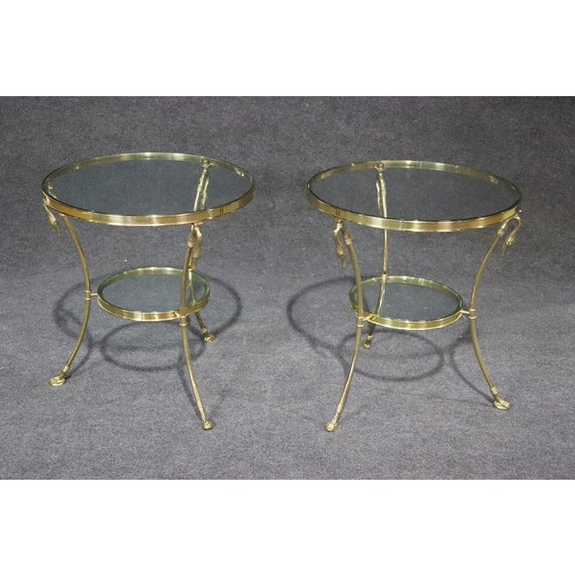 Regency Style Glass Top Brass Gueridons - a Pair For Sale - Image 11 of 11