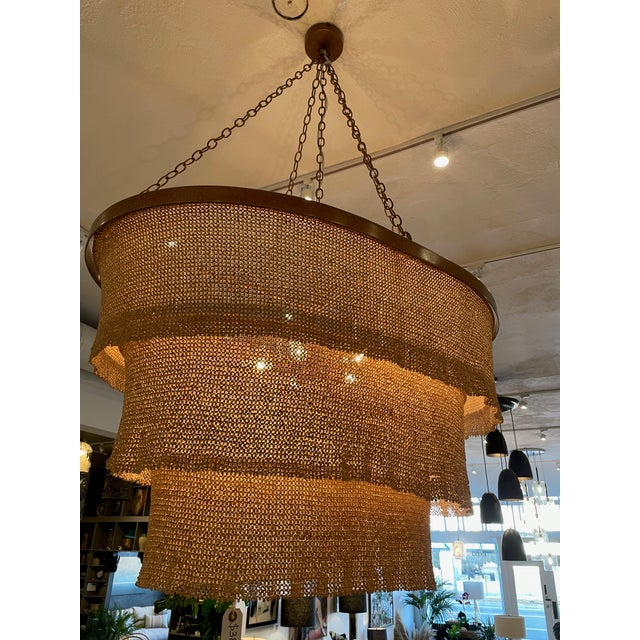 Three Tier Woven Bead Chandelier For Sale - Image 9 of 9