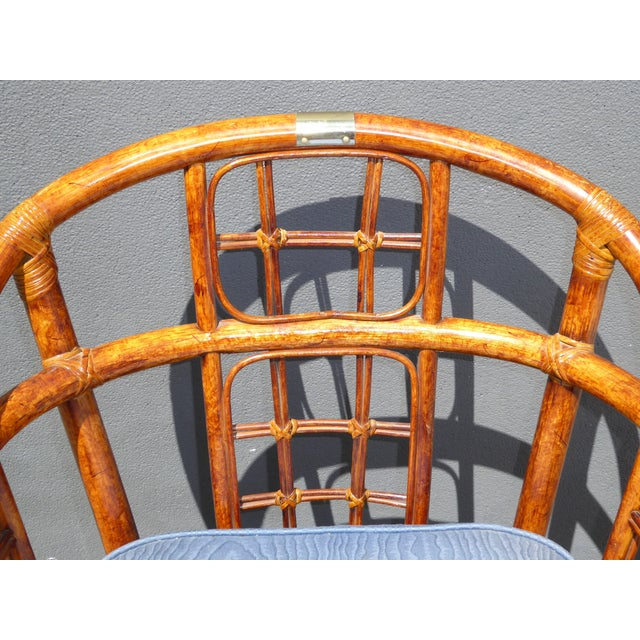Mid-Century Modern Bamboo & Rattan Arm Chairs - 4 - Image 9 of 11