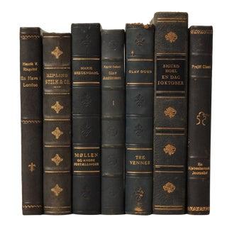 Danish Leather-Bound Books S/7