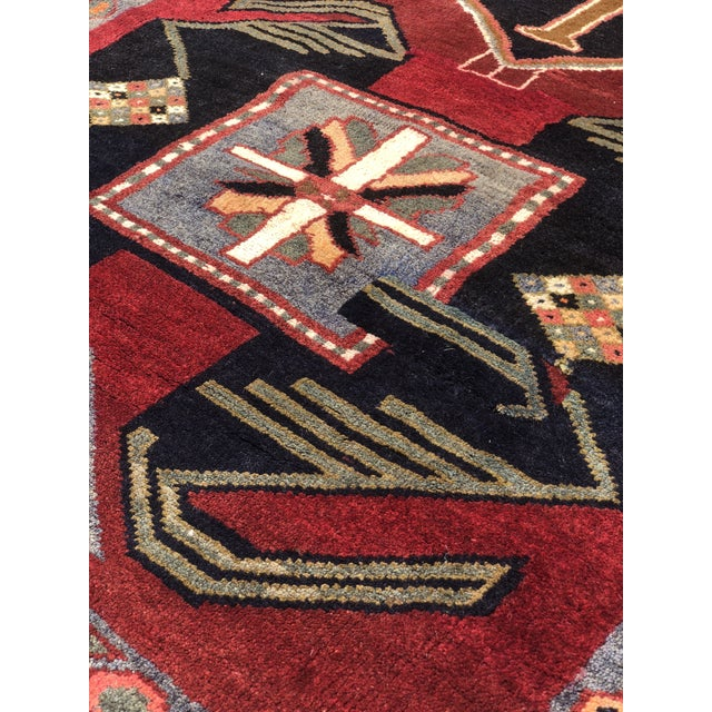 "1950s Art Deco Persian Meshkin Wool Runner - 3'8""x11'7"" For Sale - Image 11 of 13"