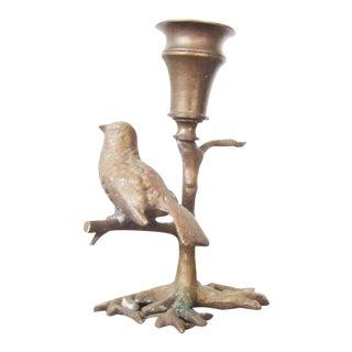 Antique Bronze Bird on Branch Candle Holder