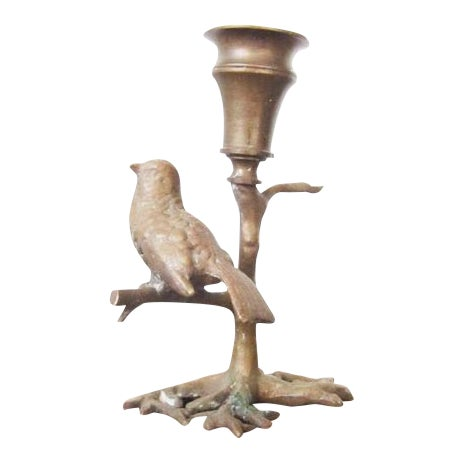 Antique Bronze Bird on Branch Candle Holder For Sale