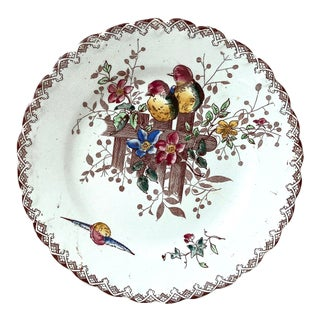 French Faience Plate With Birds and Flowers Onnaing, Circa 1900 For Sale