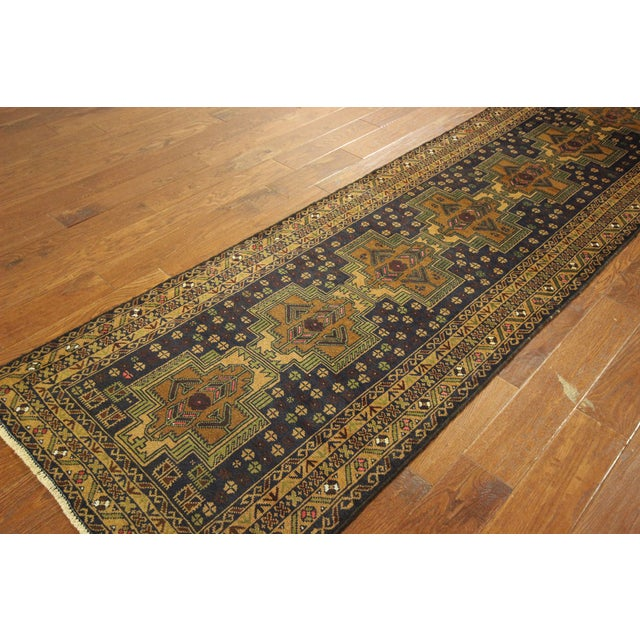 "Navy & Tan Balouch Runner Rug - 2'11"" x 9'9"" - Image 5 of 10"