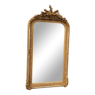 French Louis XVI Style Antique Finish Mirror in Gold Leaf Gilding For Sale