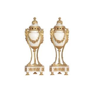 Pair of Louis XVI Style Ormolu Mounted Marble Cassolettes