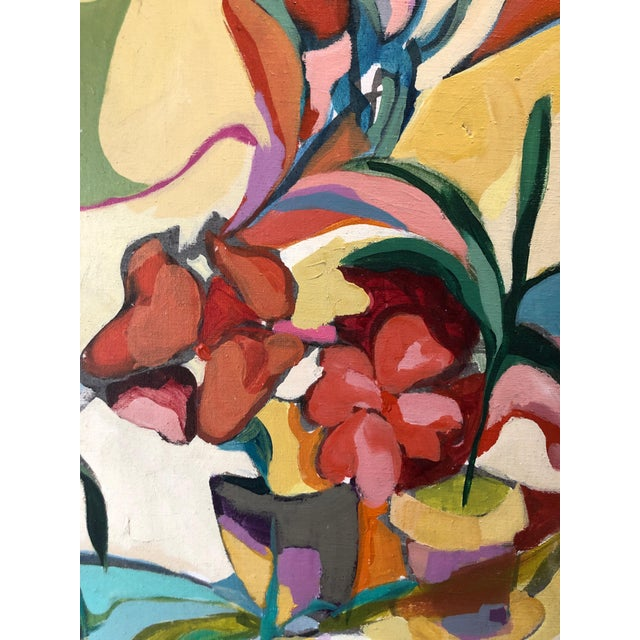 "Joanne Cooper ""Flowers"" 1969 Acrylic on linen 24""x34"" period frame has wear Signed and dated in paint lower right Joanne..."