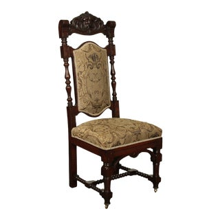 Antique Victorian Carved Oak Side Chair with Northwind Face For Sale