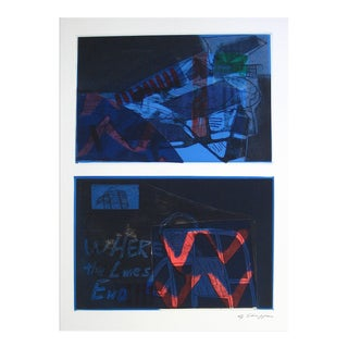Gary Lee Shaffer Expressionist Mixed Media Print in Blue, 1994 For Sale