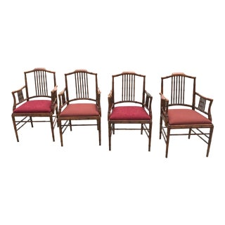 Captiva Collection Faux Bamboo Wood Dining Chairs by Drexel- Set of 4 For Sale