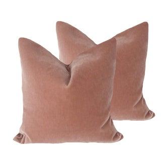 """22"""" Brunschwig and Fils Rose Bisque Mohair Pillows -A Pair"""