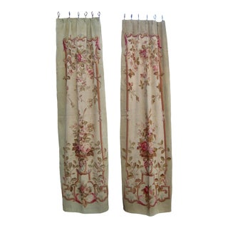 Pair of French Aubusson Tapestry Curtains ,Drapes For Sale