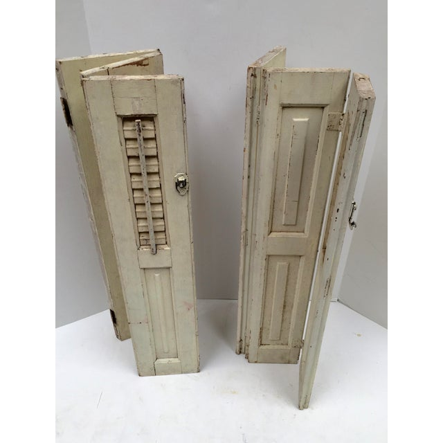 French Vintage French Mini Trifold Shutters - A Pair For Sale - Image 3 of 9