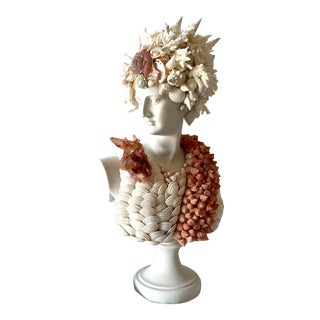 """""""Diana"""" Contemporary Bust Encrusted With Shells For Sale"""