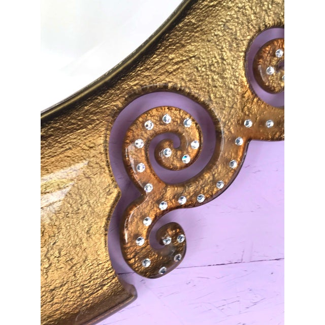 Italian Gold Glass Mirror With Swarovski Strass Crystals For Sale In Palm Springs - Image 6 of 8