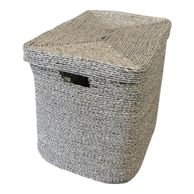 Silver Gray Woven Oversize Basket - Image 1 of 6