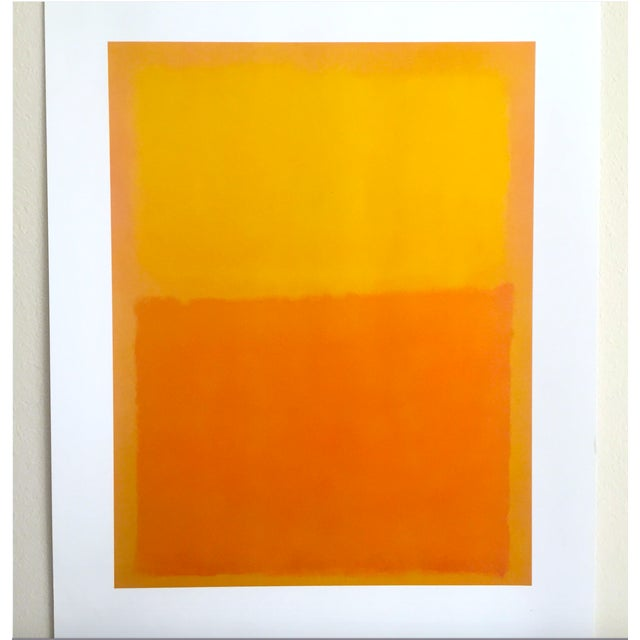 """Orange Mark Rothko Vintage 1990's Abstract Expressionist Lithograph Print Poster """" Orange and Yellow """" 1956 For Sale - Image 8 of 10"""