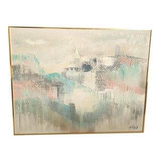 1980s Postmodern Pastel Abstract Oil Painting by Lee Reynolds, Framed For Sale