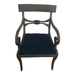 1930s Vintage Klismos Teal Blue Velvet Curled Arm Chair For Sale
