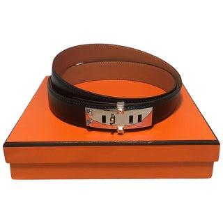 Hermes 95cm Black Box Calf Leather Colliers De Chien Belt Silver Phw For Sale