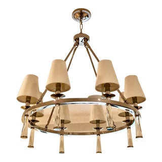 Transitional Baxter 8-Arm Poilshed Nickel & Glass Chandelier For Sale