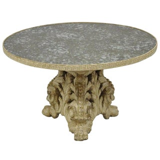 19th Century Italian Baroque Painted Carved Wood Pedestal Round Églomisé Coffee Table For Sale