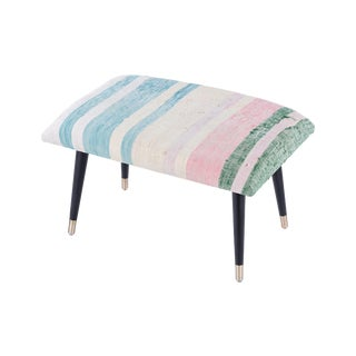 Pasargad Home Bosphorus Collection Blue, Pink, & Green Kilim Cover Ottoman For Sale