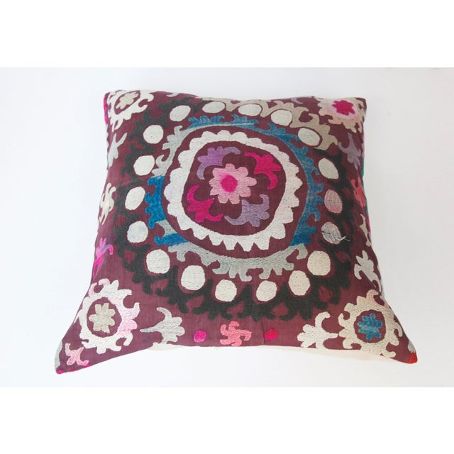 This is a handmade Needlework Suzani pillow cover made from old Uzbekistan. It is handmade embroidery and a solid linen...