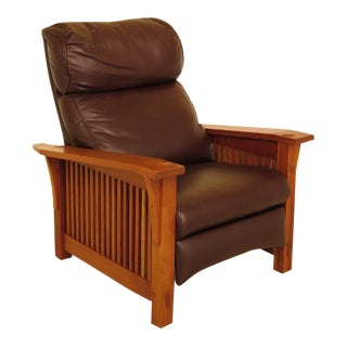 Stickley Mission Style Cherry & Leather Reclining Morris Chair
