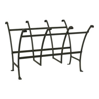 Vintage Hand Forged Metal Footed Magazine Rack