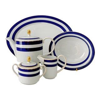 Vintage Spectator Cadet by Ralph Lauren Home Blue Pattern Serving Set - 5 Pieces For Sale